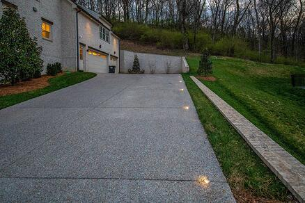 driveway with flush mounted indicator lights