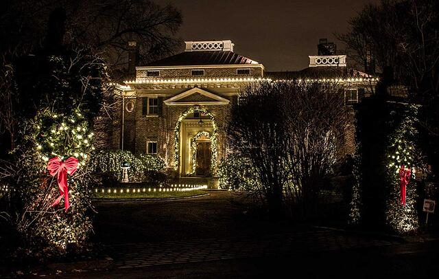 Holiday lights with greenery