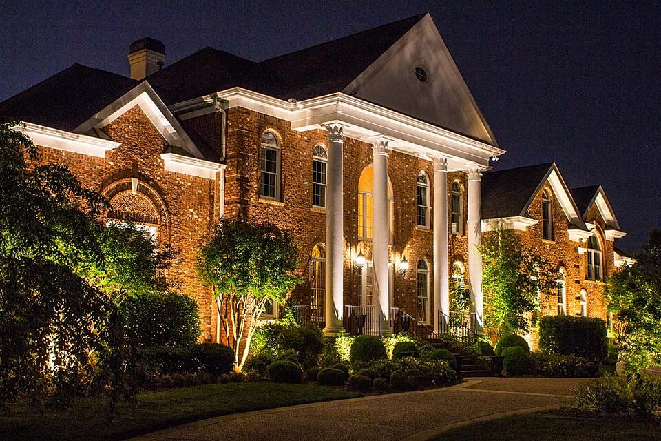 Nashville home with outdoor lighting, LED architectural lighting