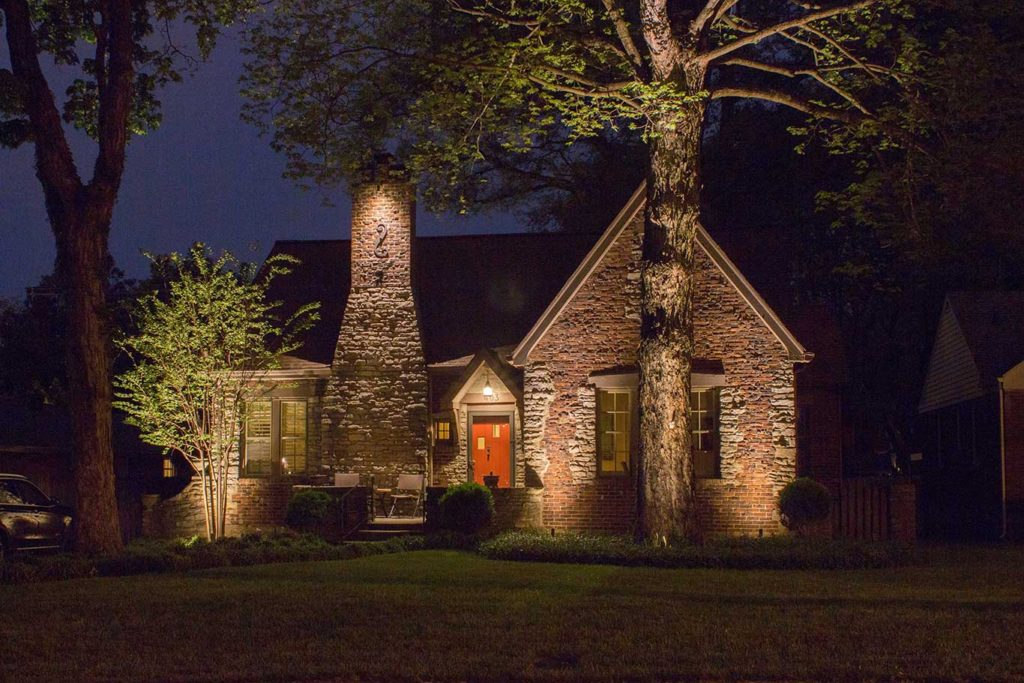 grazing lighting technique on home in Nashville