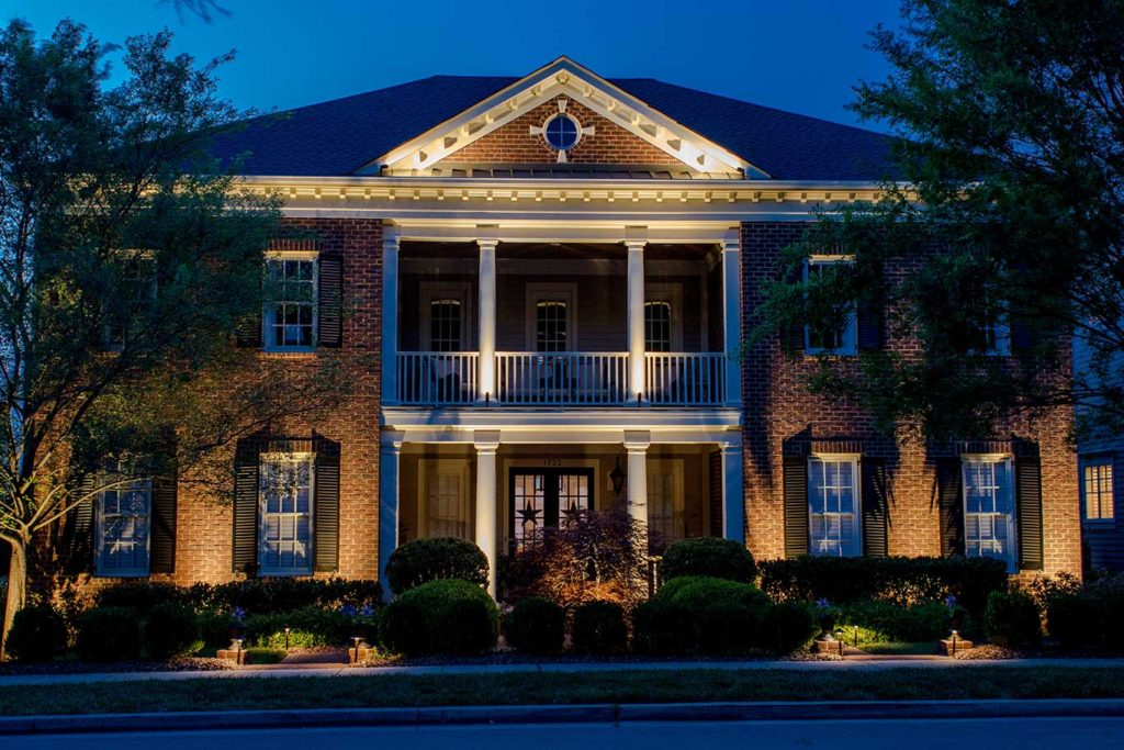 Outdoor lighting by a lighting designer on home in Nashville, TN