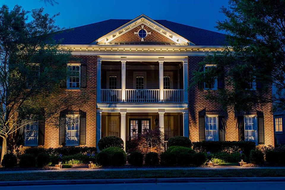 Outdoor lighting by a lighting designer on home in Nashville, TN