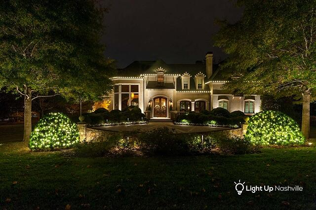 Holiday lighting on home