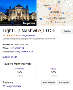 Light Up Nashville 5 Star Reviews on Google
