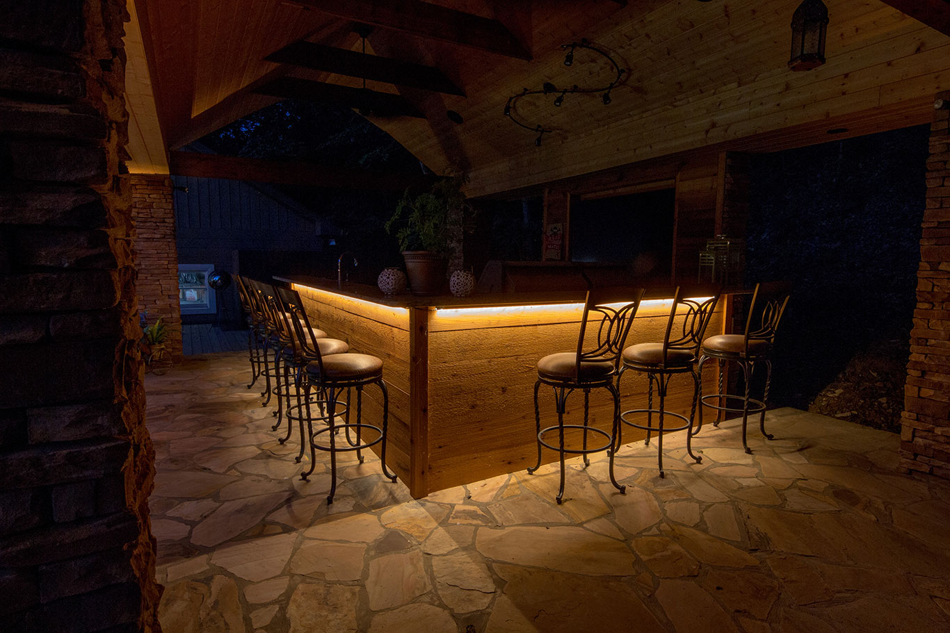 Strip lighting under outdoor bar