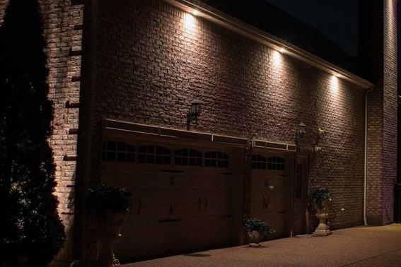 Soffit downlights over garage